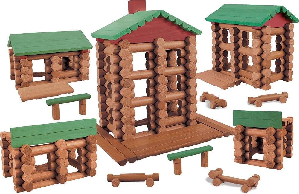 Log Cabin Village Wood Logs Building Set By Lincoln Logs Brand