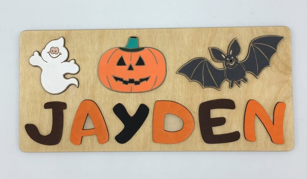 magicwoodkids brand personalized wooden name puzzle with pumpkin bat ghost