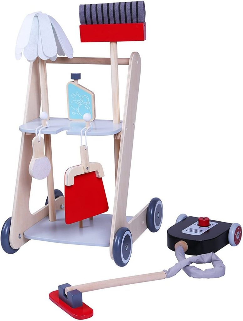 MMP Living Pretend Play Wooden Cleaning Cart With Broom Mop Vacuum