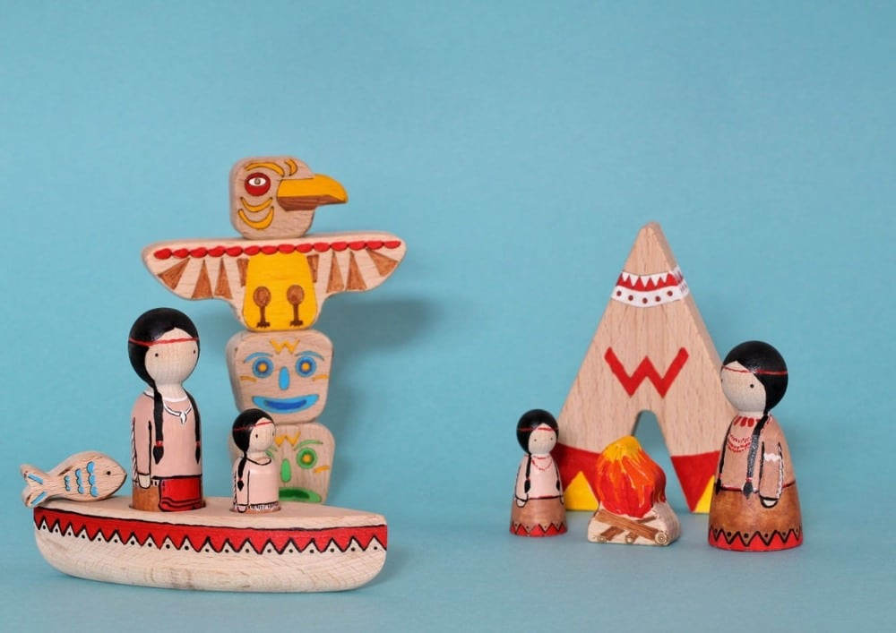 Native Americans Tribal Family Peg Doll Set By Toys Wooden Gifts