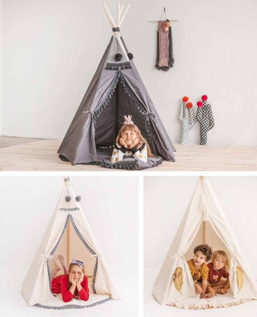 Natural Wood Kids Teepee Tents By Minicamp Brand