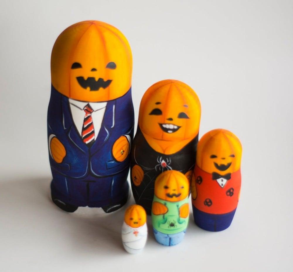 nestingdollshop brand wooden halloween nesting dolls pumpkin family