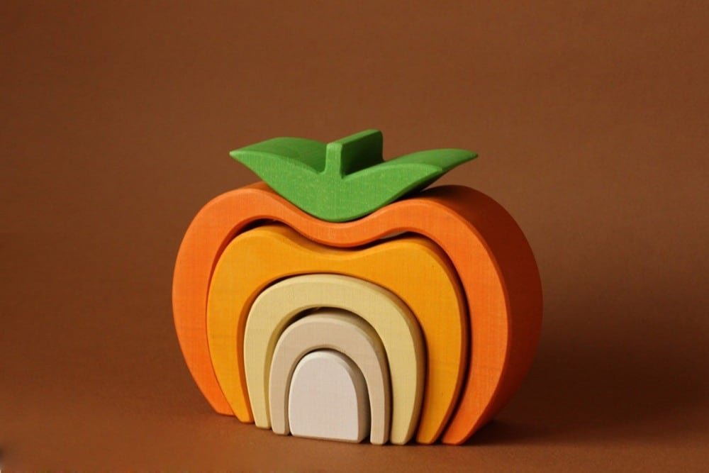 Pumpkin Wooden Stacking Toy By Skandico Toys