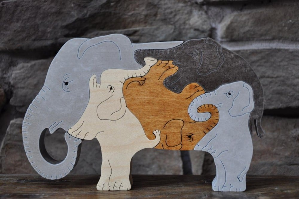 Puzzimals Wooden Elephant Puzzle With Brown Skin Tone