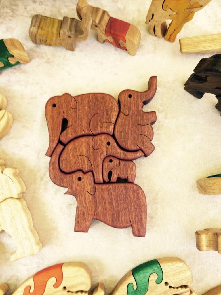 Puzzleson Dark Wooden Elephant Stacking And Balancing Blocks