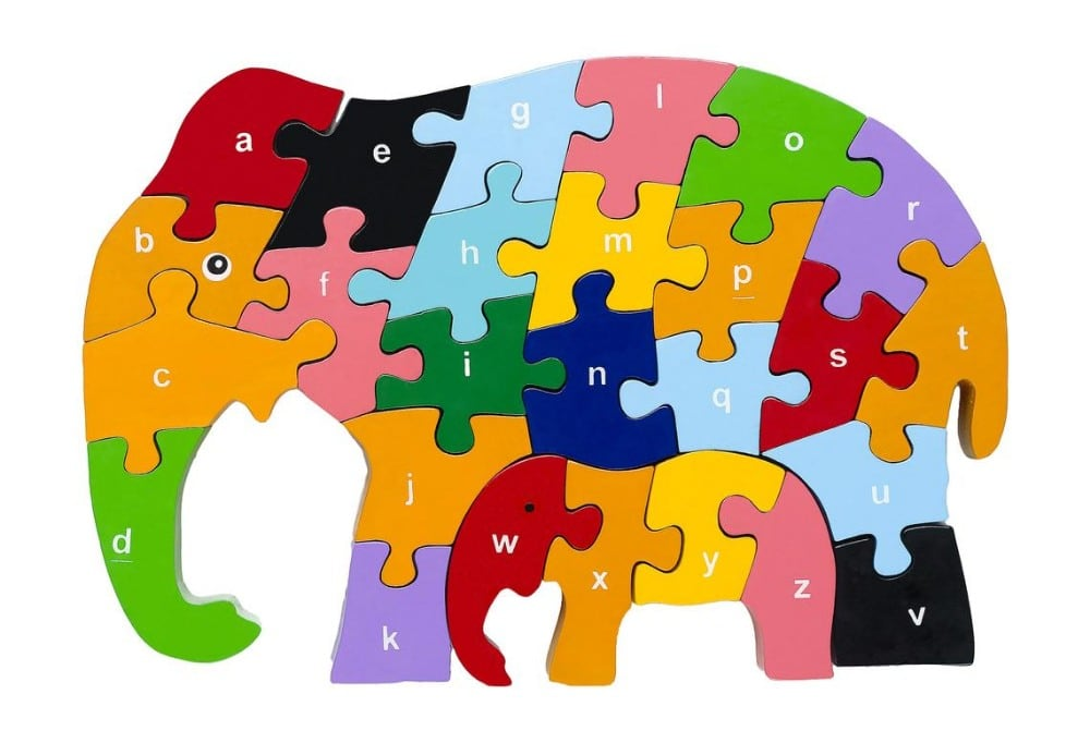 Red Fish Toys Colorful Wooden Elephant Puzzle With Letters Of Alphabet