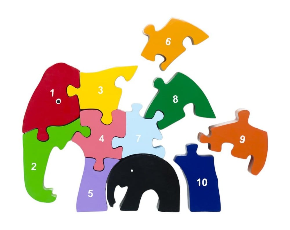 Red Fish Toys Educational Elephant Wooden Puzzle With Numbers Zero To Ten