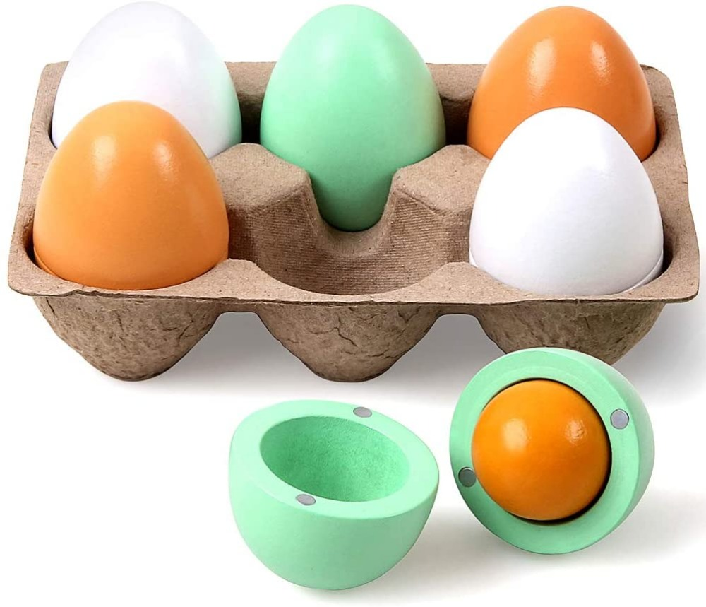 Stillcool Magnetic Wood Egg Toy With Green Brown White Eggshells