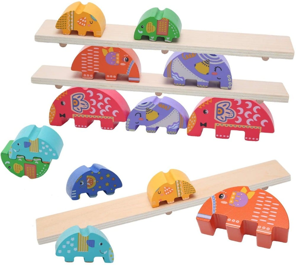 Tangame Wooden Elephant Wooden Montessori Balance Stacking Game