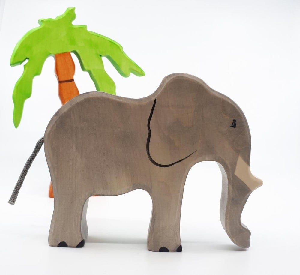 The Wood Pecker Factory Wooden Elephant Figurine Toy With Safari Palm Tree