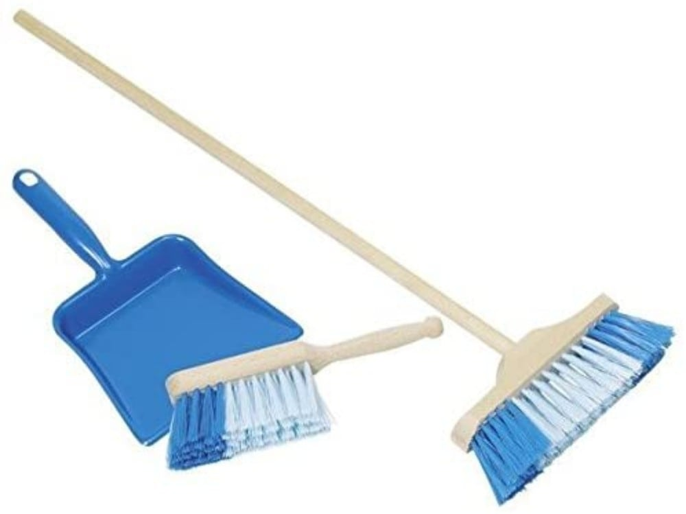 Toys Pure Kids Broom Dustpan Sweeper Wooden Cleaning Toy Kit