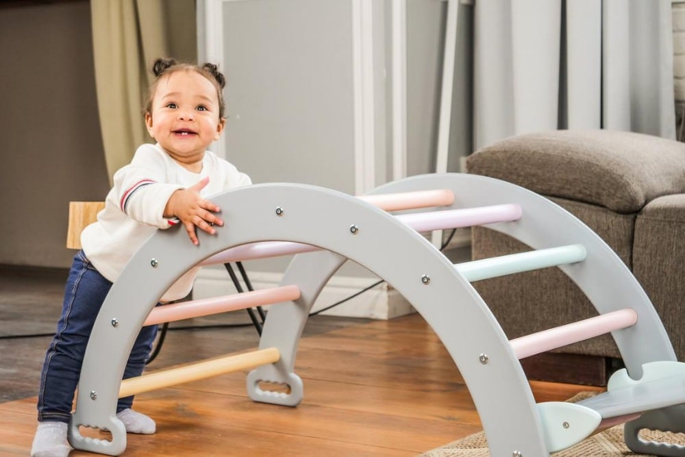 Woodandhearts best indoor wooden climbing arch for toddlers.