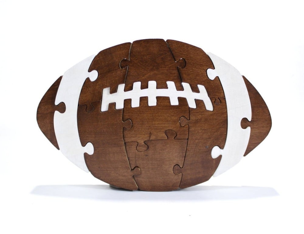 Wooden American Football Puzzle For Kids By Birkshire Bowls