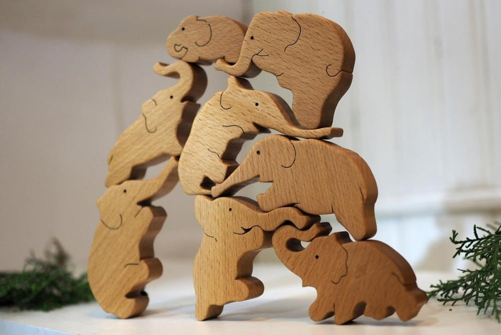 Your Wood Master Brand Wooden Elephant Stacking Blocks