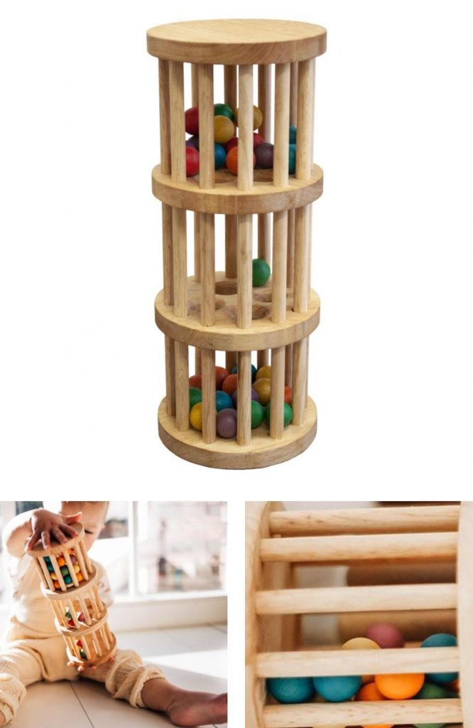 100% Natural Wood Rainmaker Toy By Qtoys