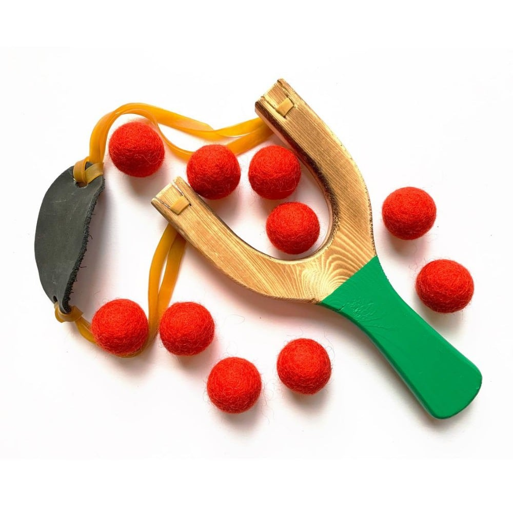 A Little Lark Brand Christmas Themed Wooden Sling Shot Toy