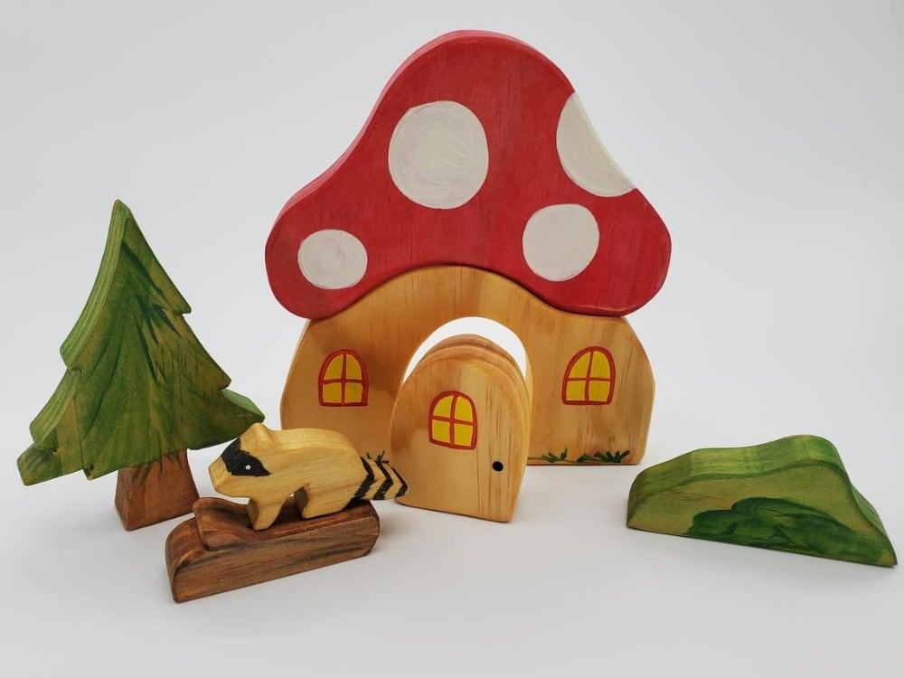 All About Kids Store Brand Forest Mushroom House Waldorf Wooden Playset