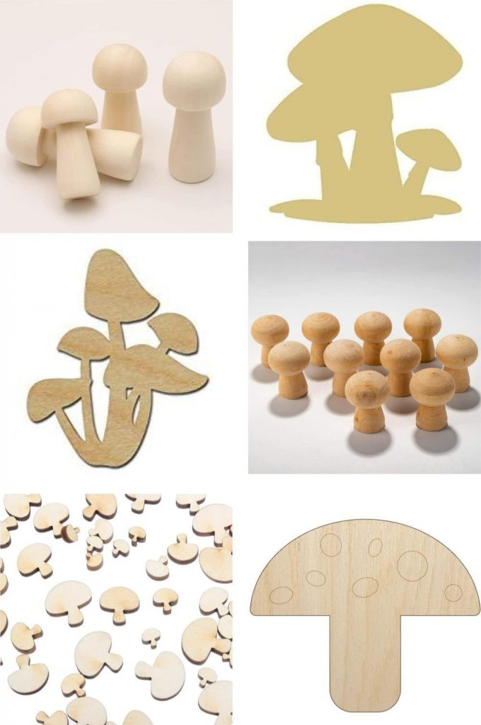 Amazon Unpainted Wooden Mushroom Pegs And Cut Outs For Painting Crafts