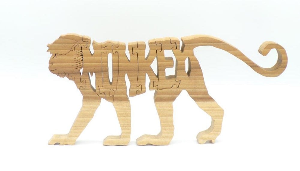 Bears Wood Crafts Brand Monkey Letters Educational Wooden Monkey Puzzle