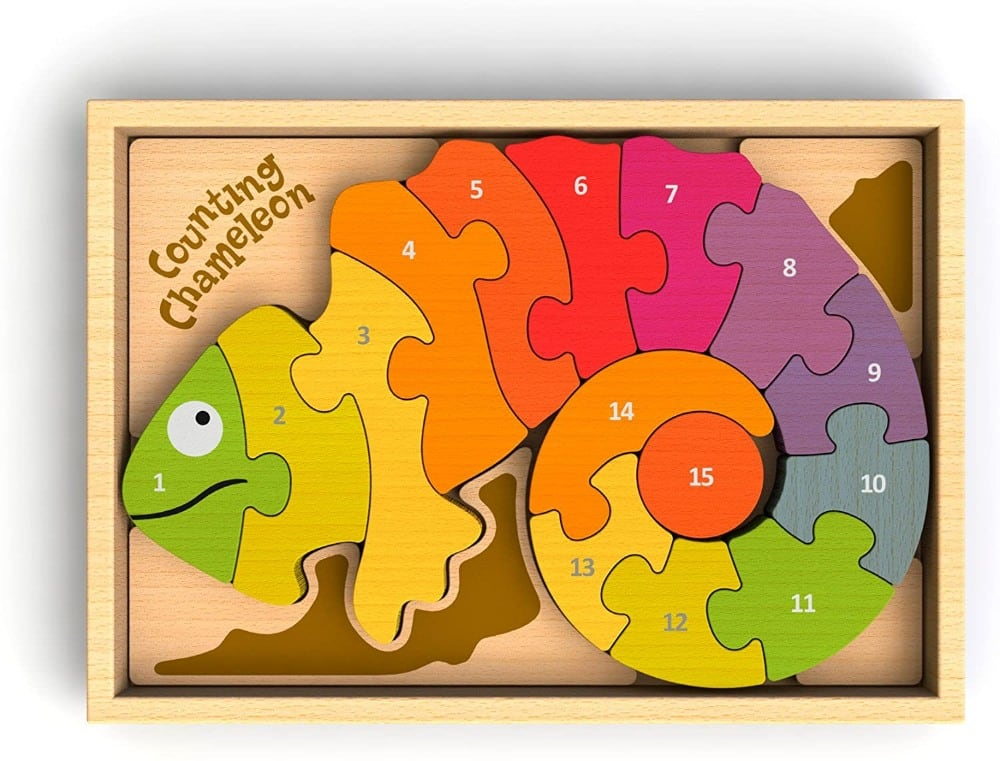 Begin Again Bilingual Spanish English Numbers Counting Chameleon Wooden Puzzle For Toddlers