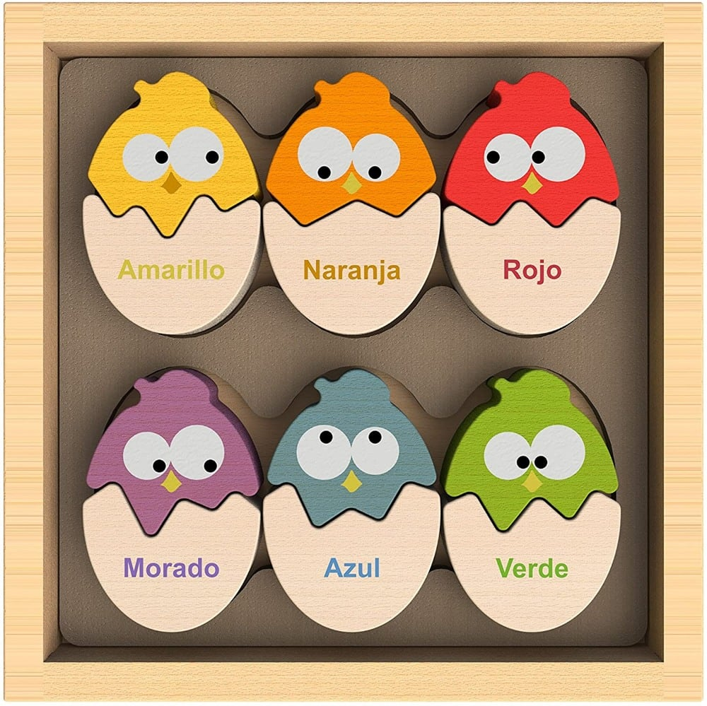 Begin Again Spanish English Bilingual Eggs And Chicks Color Matching Wooden Toy