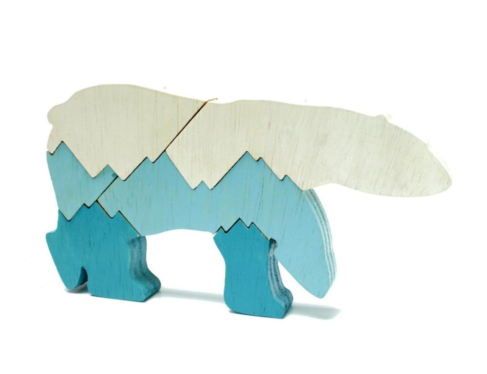 Berkshire Bowls Brand Arctic Polar Bear Kids Wood Puzzle
