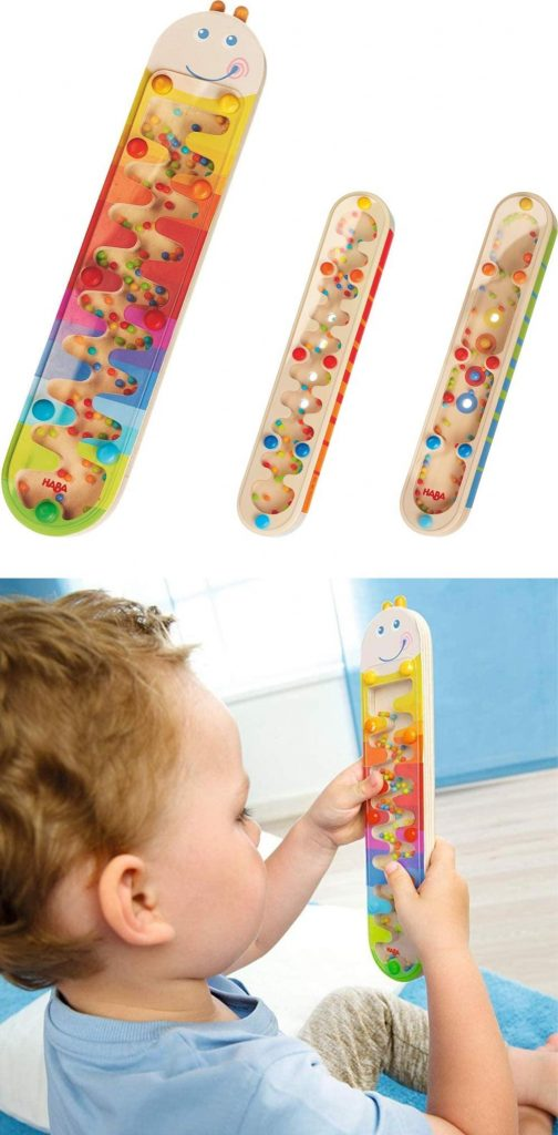 caterpillar wooden rainmaker toy by haba