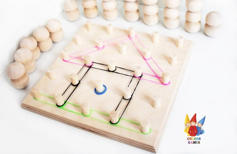 Colors Games Brand Wooden Educational Geoboard Toy For Toddlers