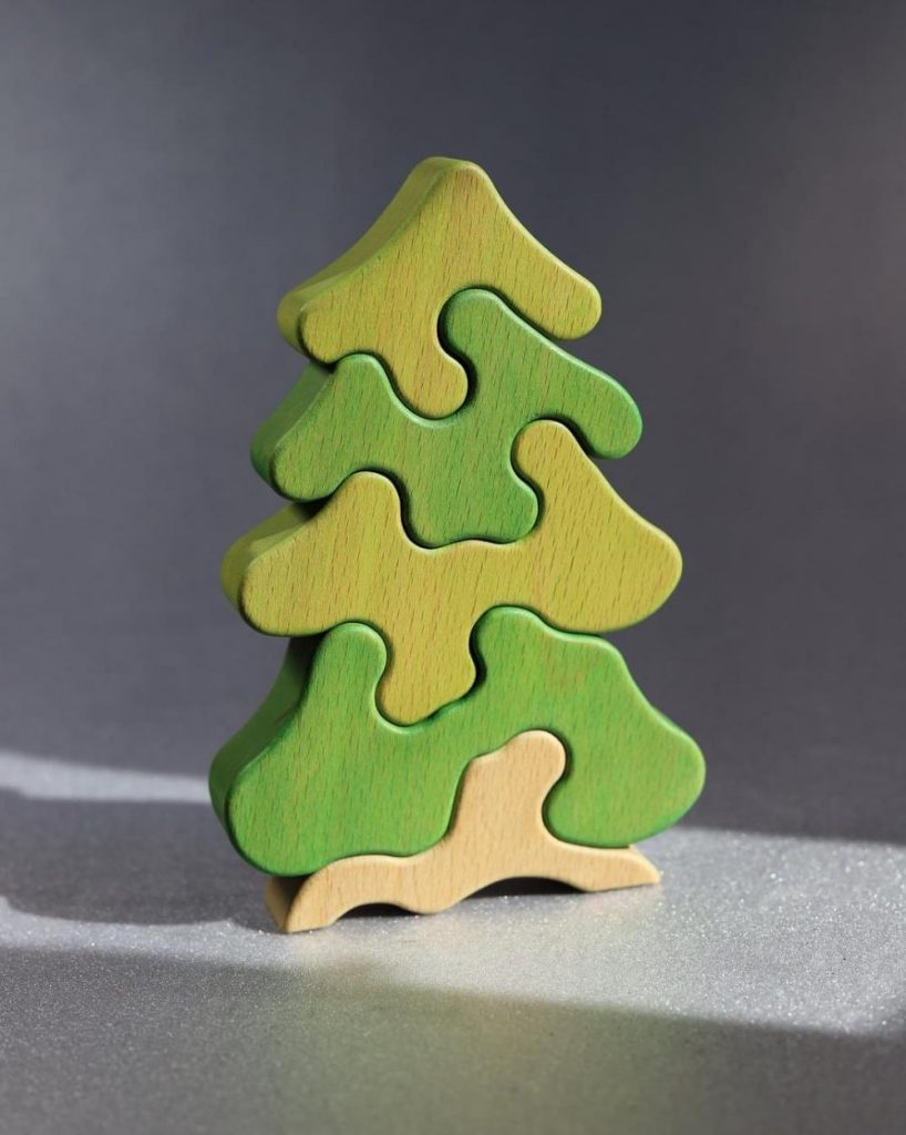 Cozy Eco Planet Brand Abstract Wooden Christmas Tree Puzzle