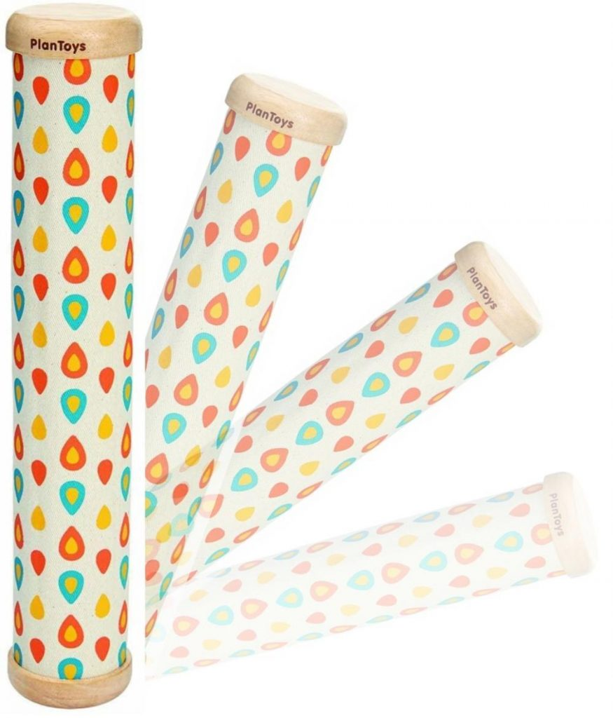eco friendly musical shaker rain stick toy by plan toys