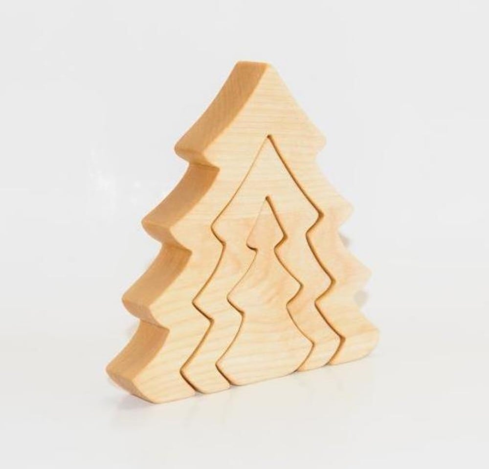 Ecopuzzle Brand Natural Wooden Eco Friendly Christmas Tree Puzzle
