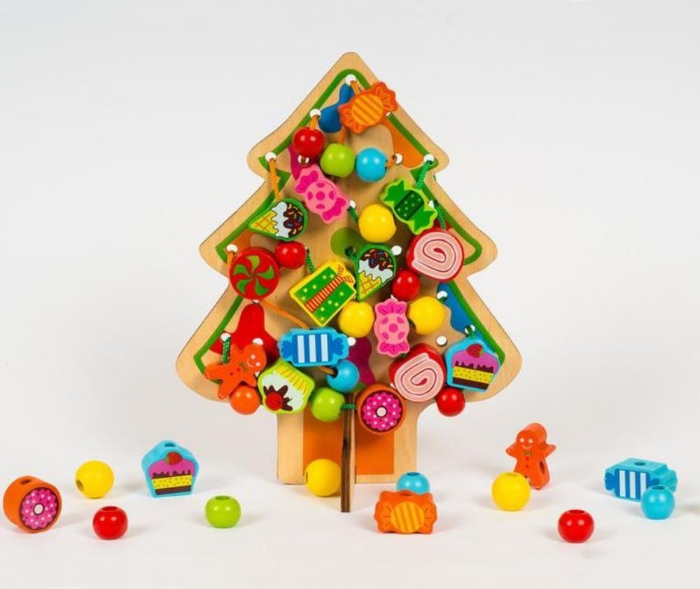 Education Wooden Toys Brand Christmas Tree Wooden Sensory Lacing Toy For Toddlers