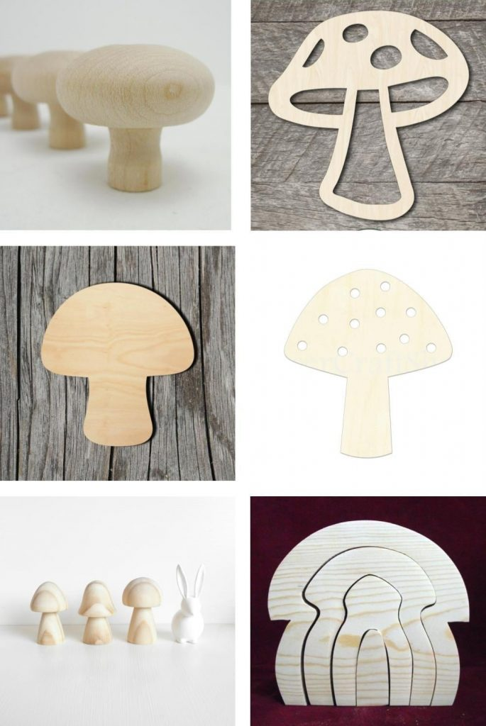 Etsy Unfinished Wooden Mushroom Craft Pegs And Cut Outs