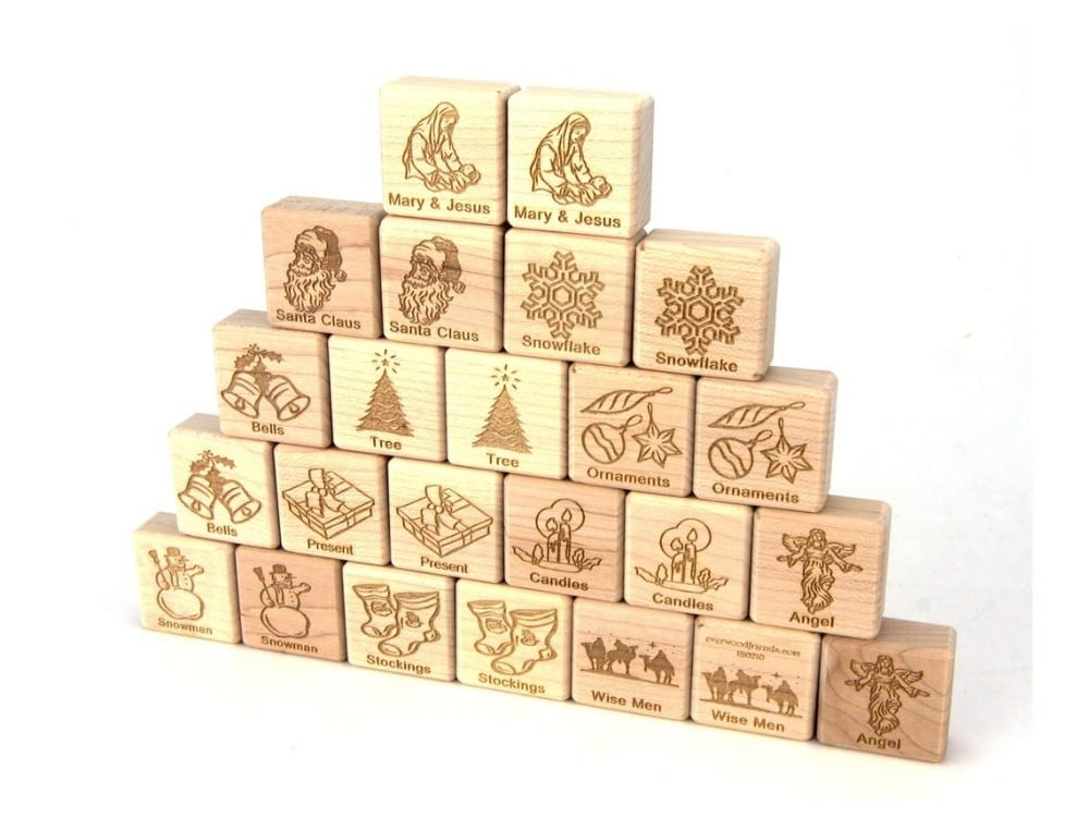 Everwood Friends Brand Wooden Christmas Blocks Memory Matching Game