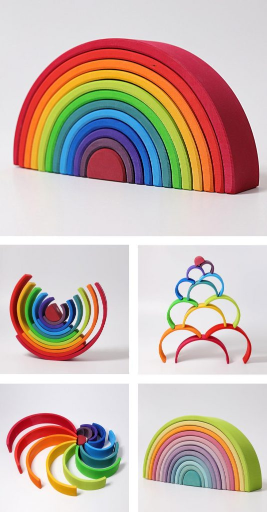 Grimm's Large 12-Piece Wooden Rainbow Stacker For 1-Year-Olds
