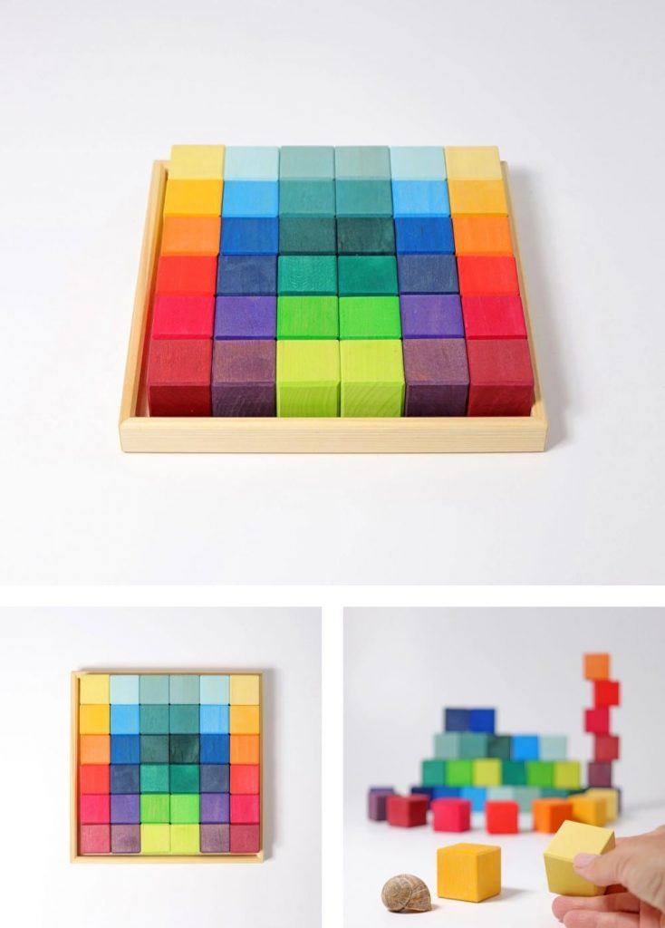 Grimm's Mosaic Square Wooden Blocks For 12-Month-Olds