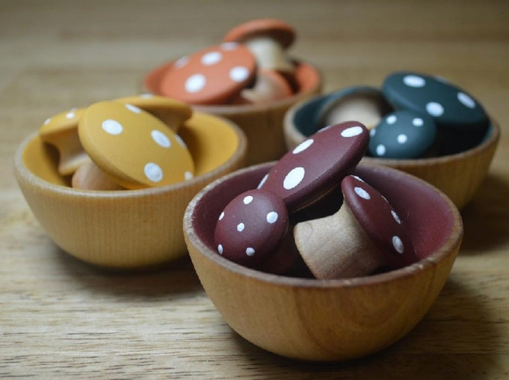 House Mountain Natural Brand Earth Color Wood Mushroom Color Sorting Bowls