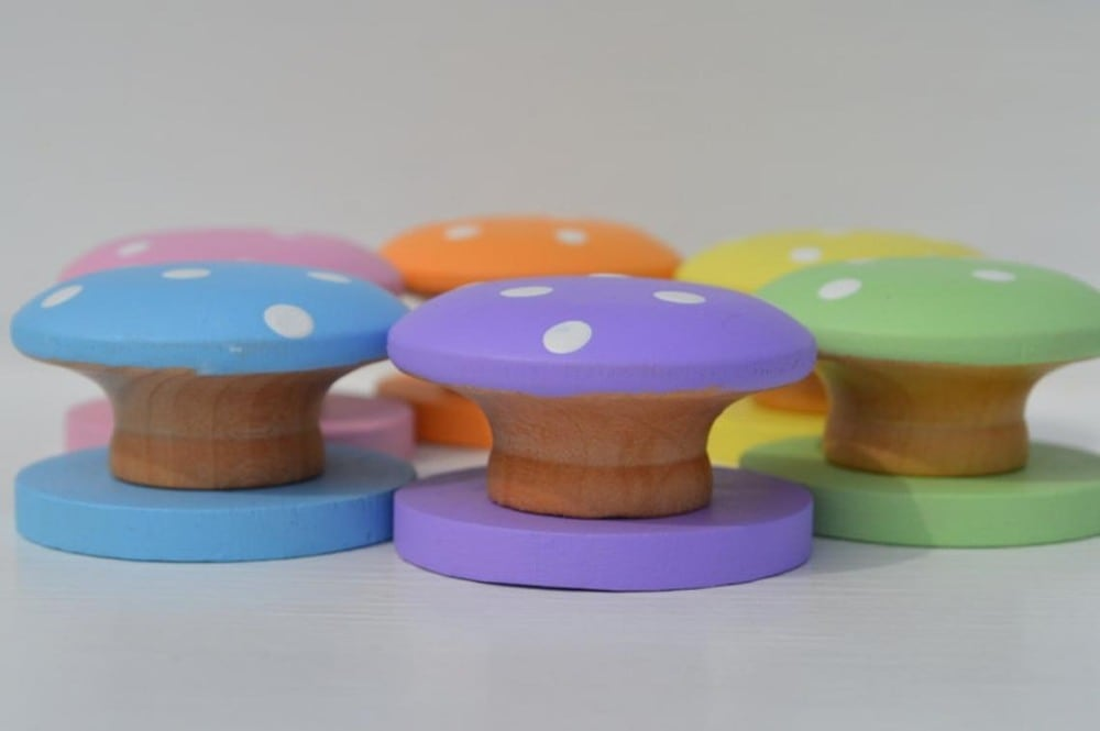House Mountain Natural Brand Pastel Wooden Color Sorting Mushrooms