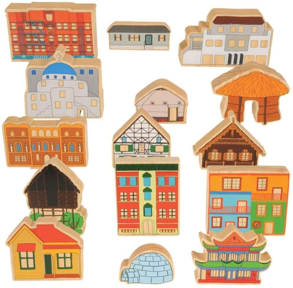 Kaplan Early Learning Cultural Homes Around The World Wooden Toy Set