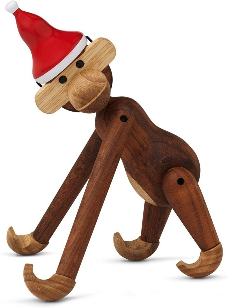 Kay Bojesen Wooden Monkey Toy With Christmas Hat