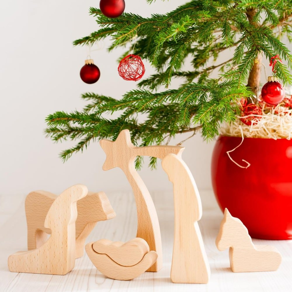 Loving Wood Com Brand Minimal Montessori Wooden Nativity Set