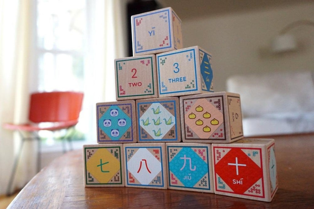 Machi Playroom Mandarin Chinese English Bilingual Wood Blocks