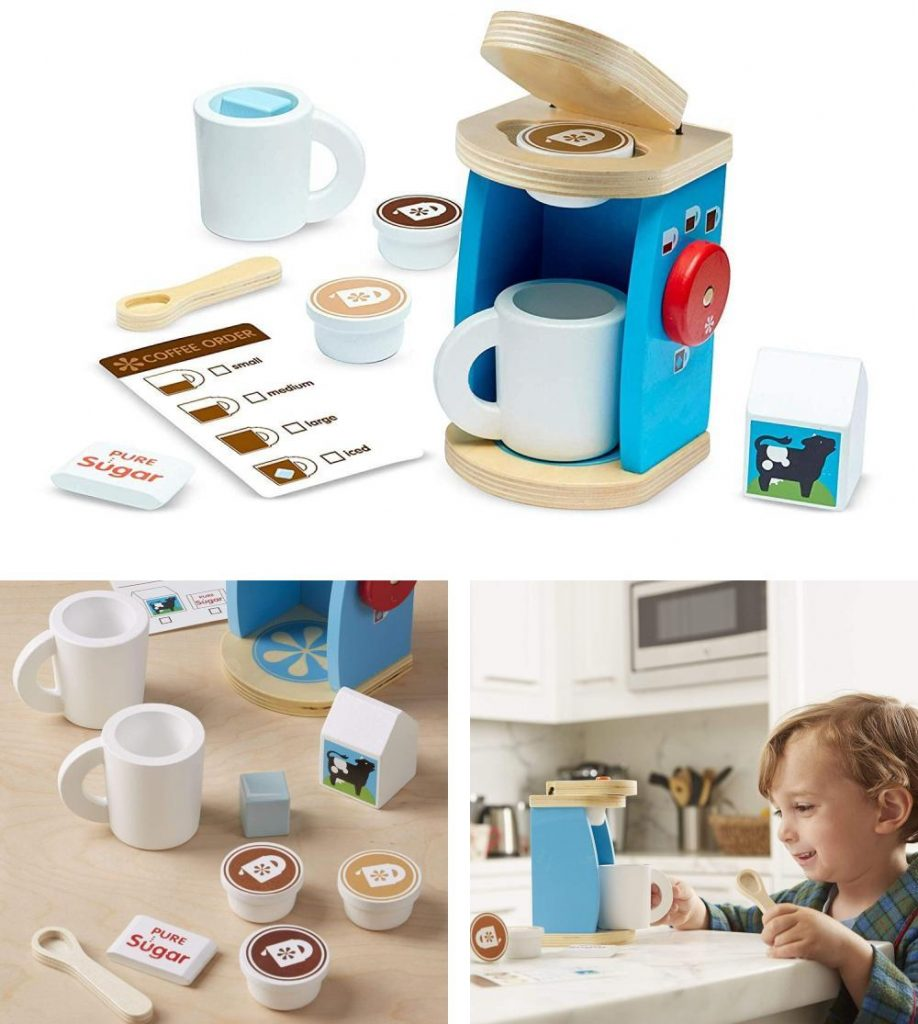 Melissa And Doug Brew And Serve Wooden Coffee Maker Set