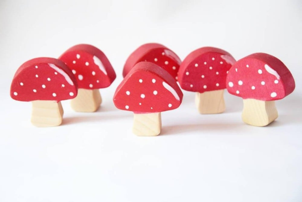 Mommys Gift Shop Red Mushroom Cap Wooden Waldorf Figures