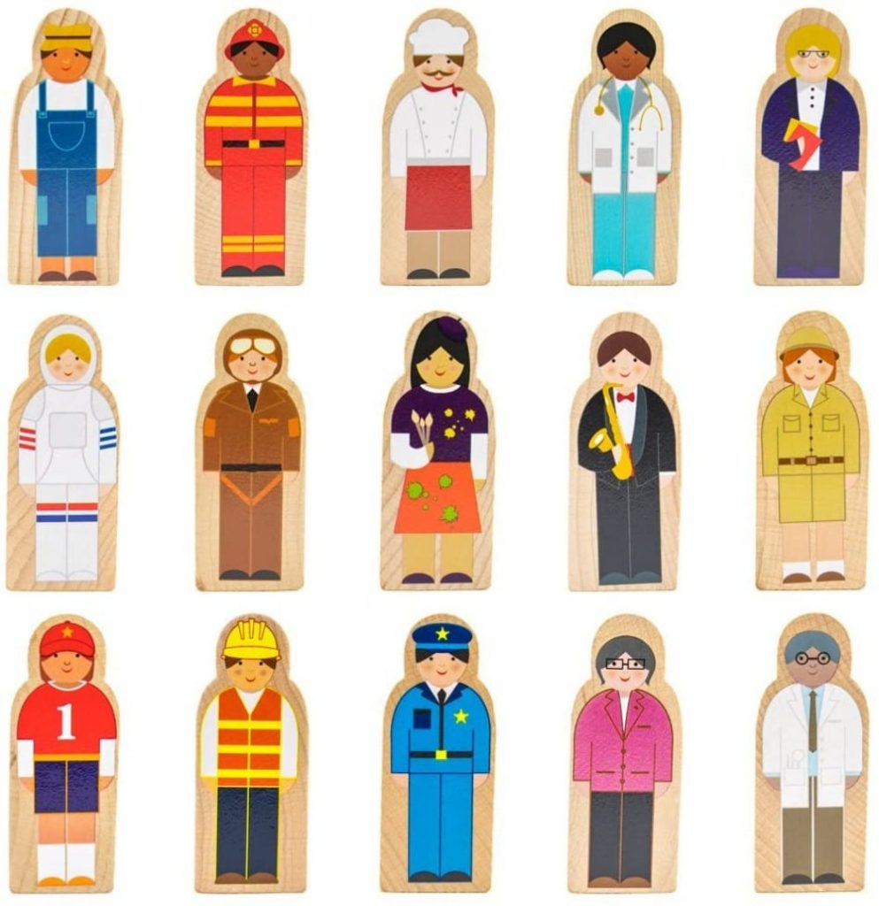 Onshine Little Multicultural Professionals Wooden Character Set For Kids And Toddlers