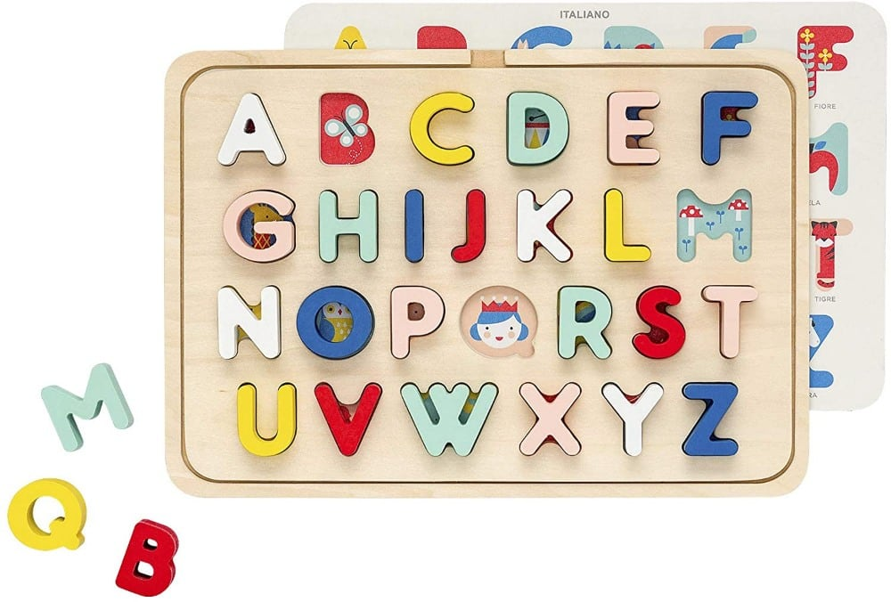 Petit Collage Multi Language Toddlers Wooden Alphabet Puzzle With Tray