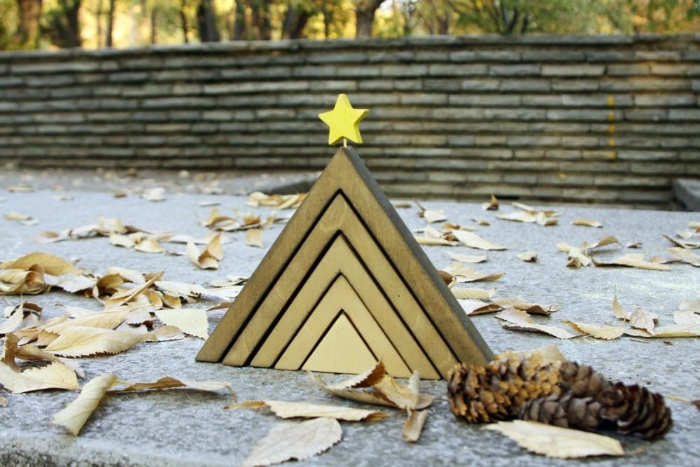 Piron Design Brand Olive Minimalist Wood Christmas Tree Stacker
