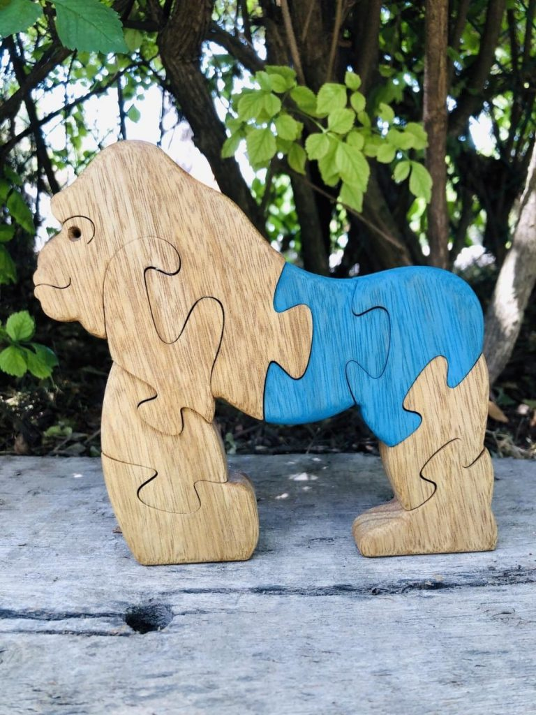 Puzzleson Hand Made Wood Gorilla Puzzle With Blue Butt
