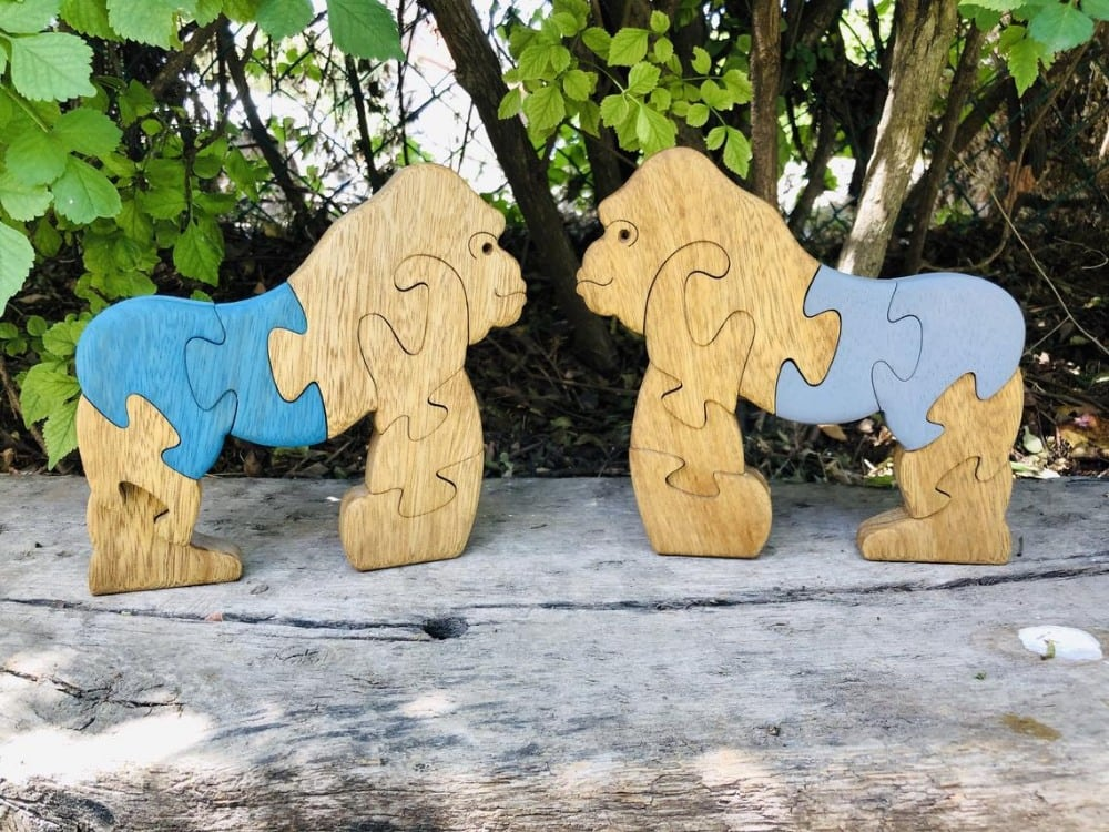 Puzzleson Handmade Wooden Gorilla Puzzles With Blue Butts