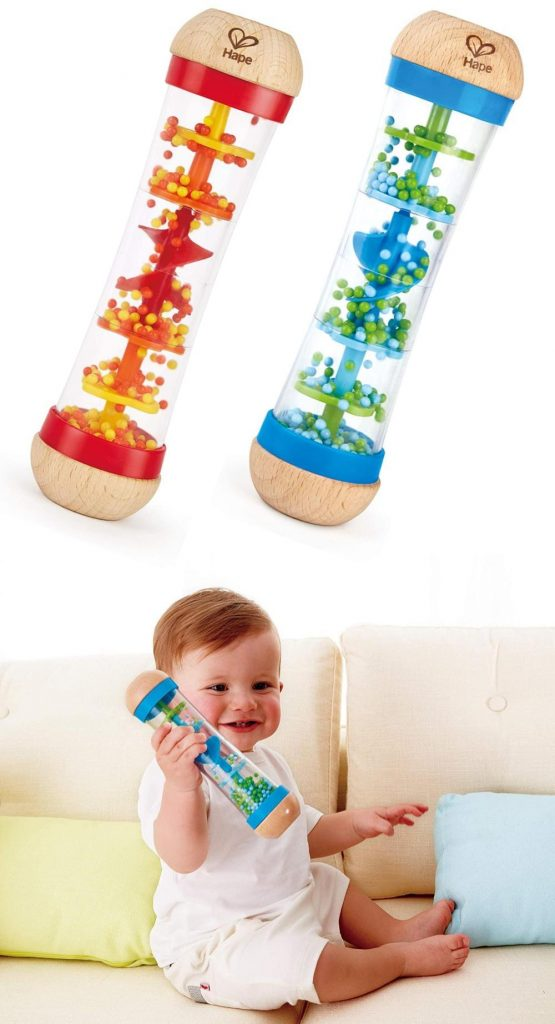red and blue beaded raindrop wooden rainmaker by hape